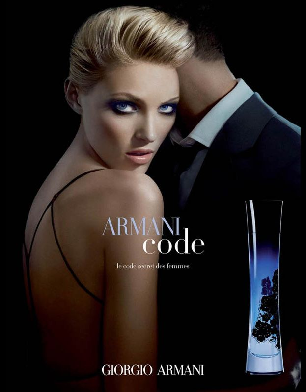 A perfume ad by Giorgio Armani and Armani code with a sexually attractive woman - an example of objectified female body and sex appeal used in advertising