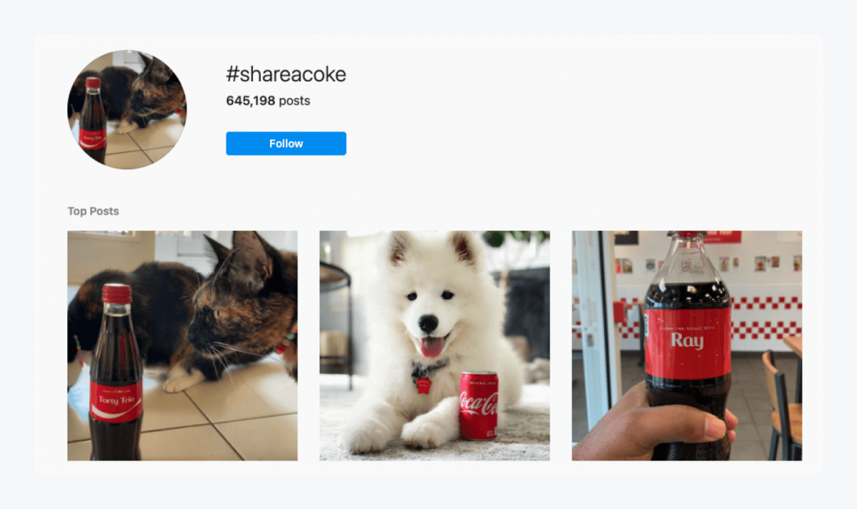 Instagram results page for #ShareACoke hashtag