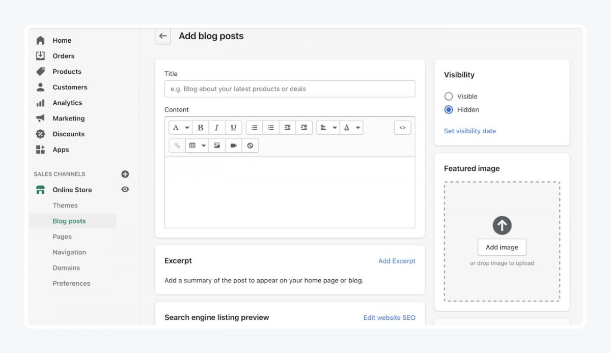 Shopify's panel: add blog posts tab