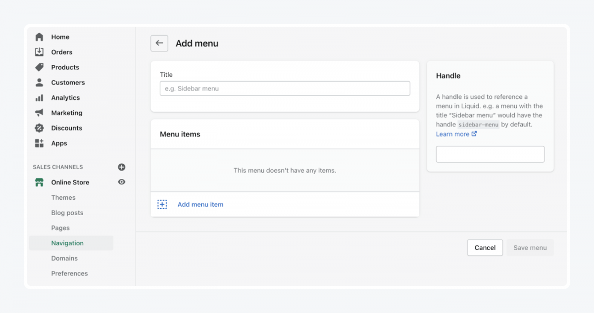 How to add a menu in Shopify