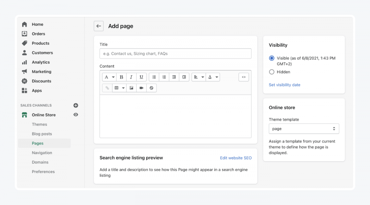 How to add a page in Shopify
