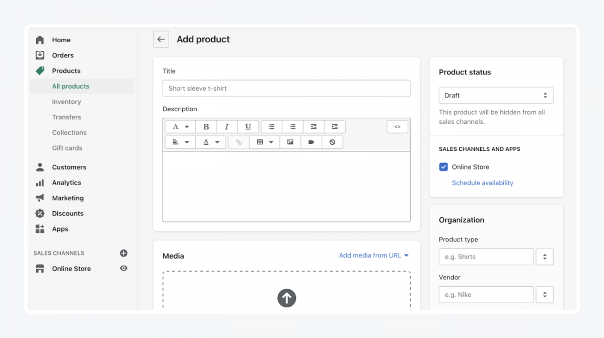Shopify's panel: add product tab