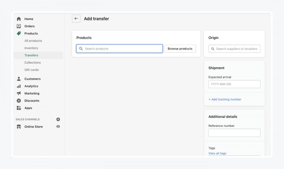 Shopify's panel: add transfer tab