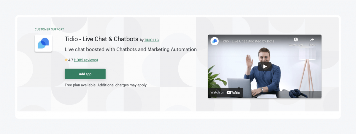 Tidio live chat for Shopify app homepage