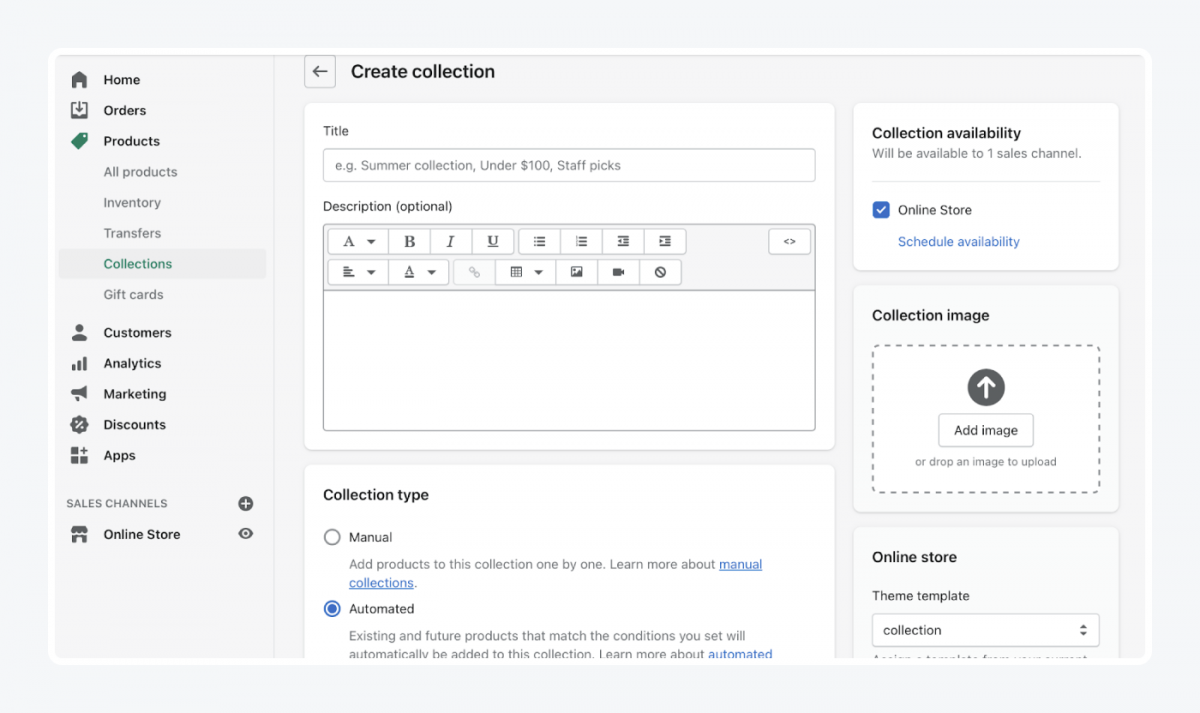 Shopify's panel: create collection tab