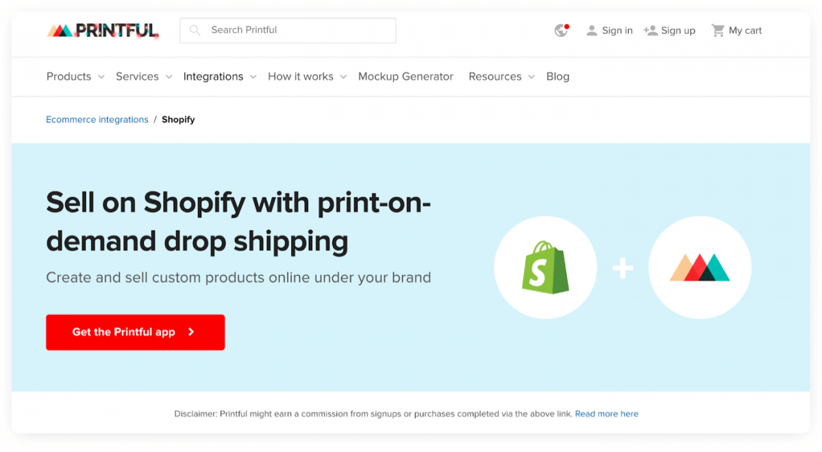 Homepage of Printful