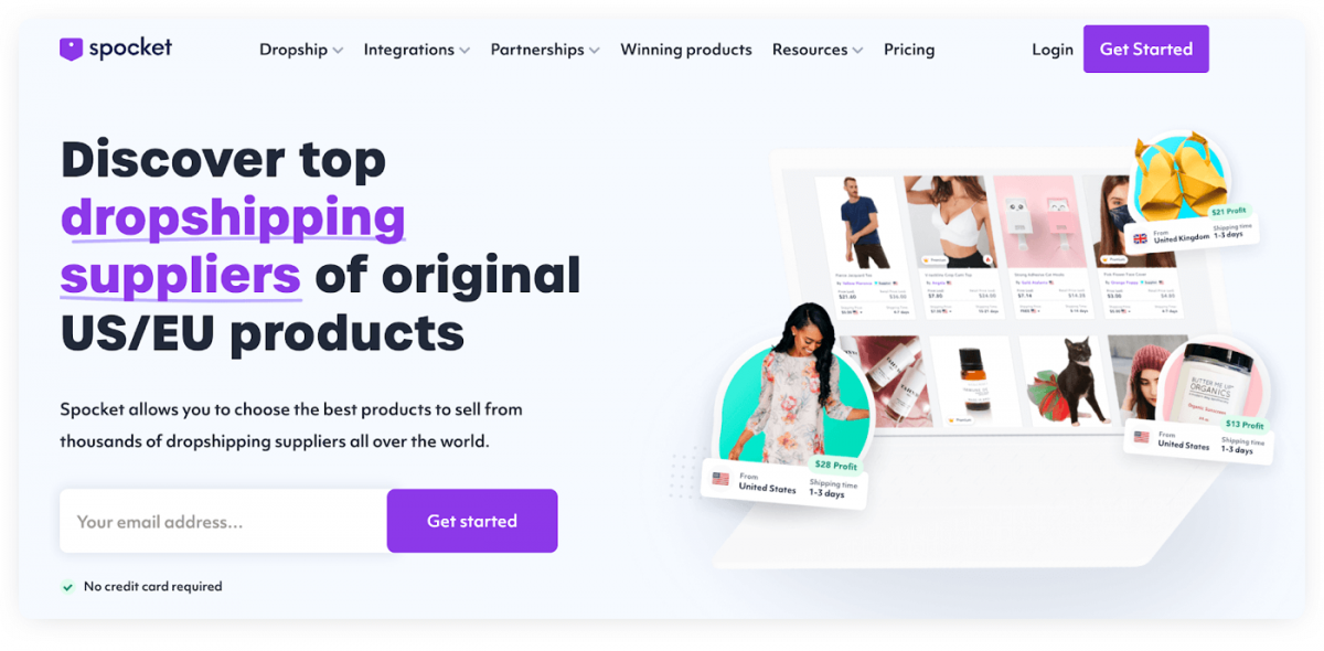 Homepage of Spocket's dropshipping app for Shopify