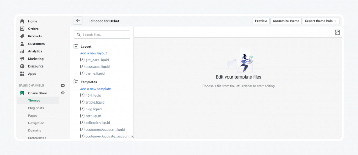 Shopify's panel: edit a template tab