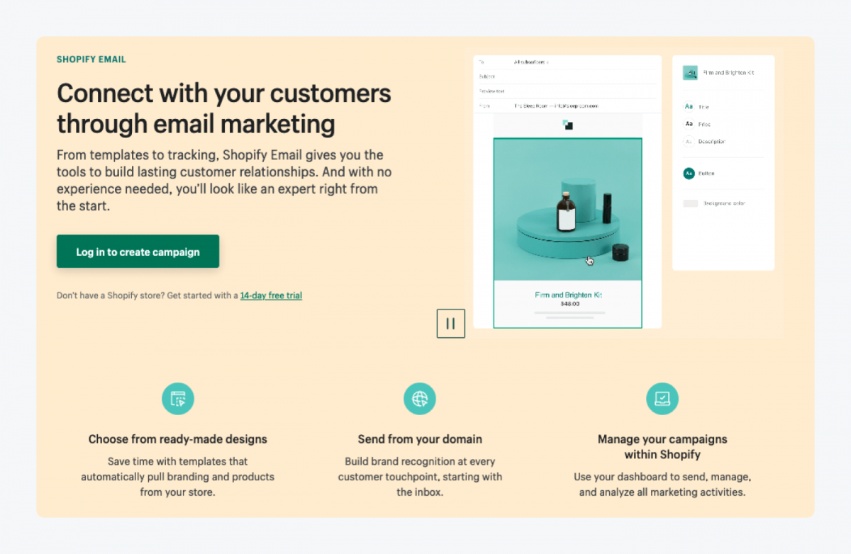 Shopify Email page