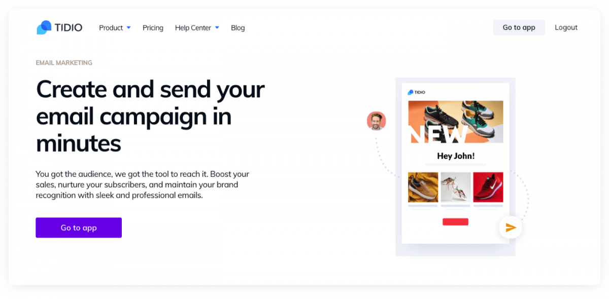 Tidio Email Marketing product page