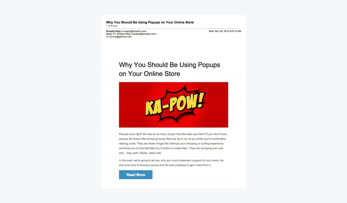 Customer onboarding email example from Shopify