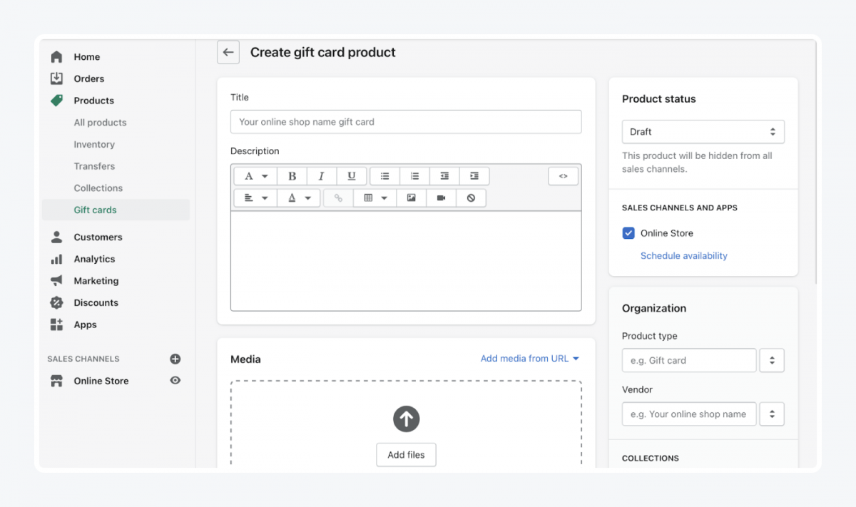 Shopify's panel: create gift card product tab