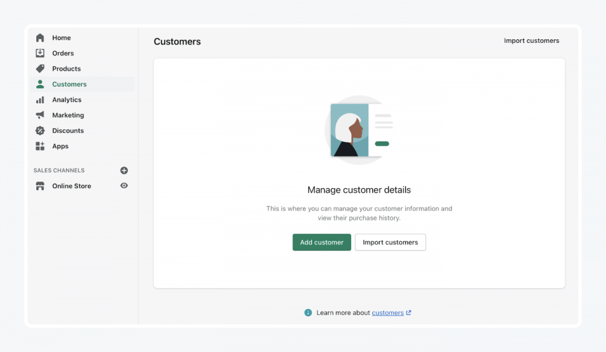 Shopify's panel: customers tab