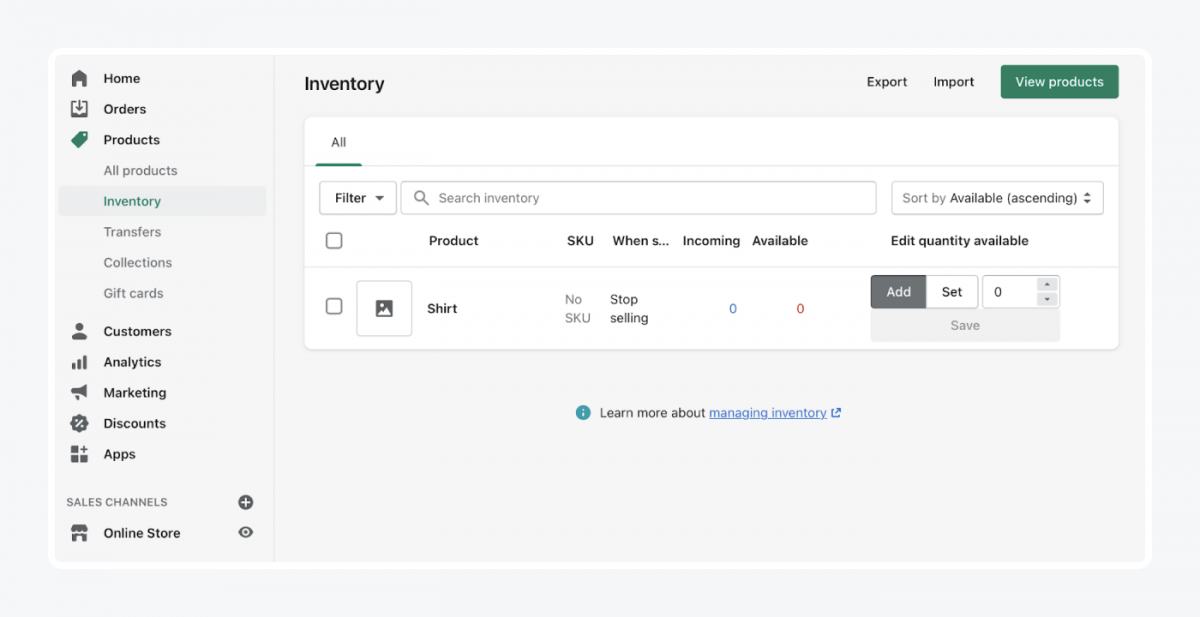 Shopify's panel: inventory tab