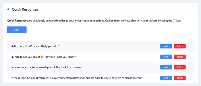 Tidio Shopify Live Chat - quick responses