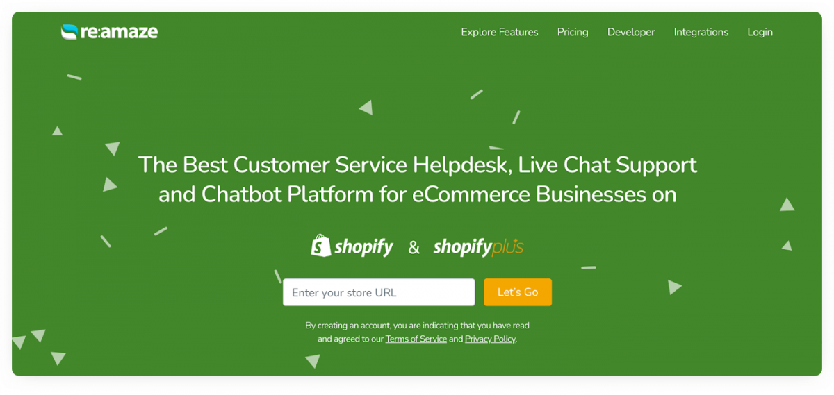 Reamaze homepage for Shopify and Shopify Plus