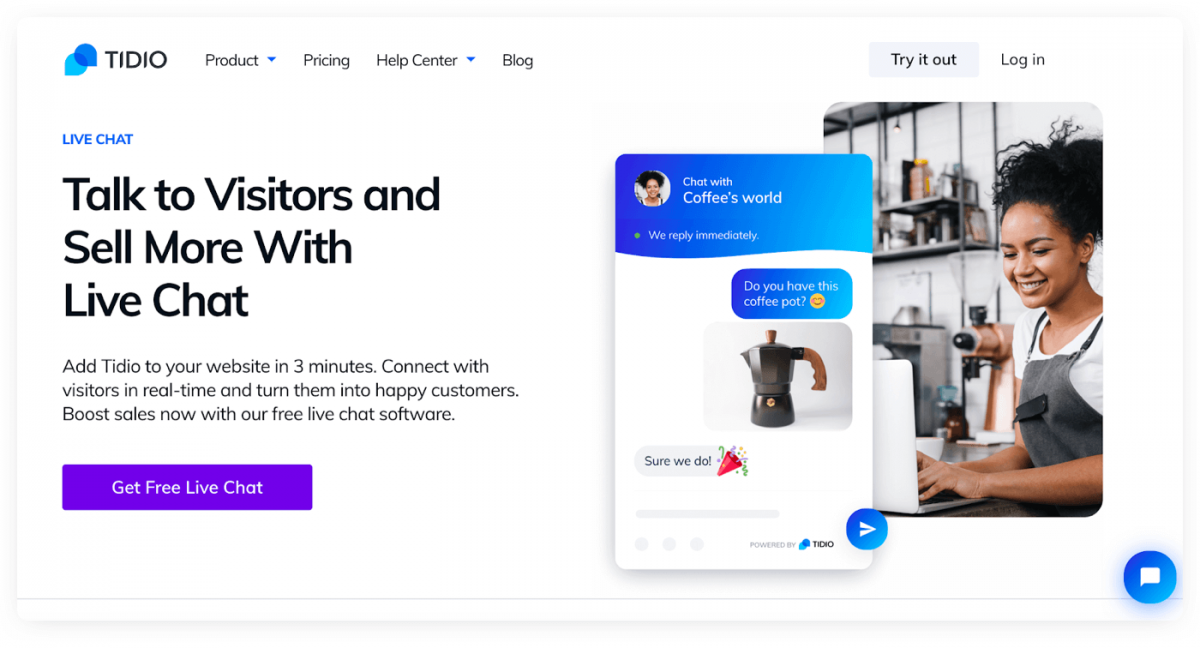 Tidio Live Chat product page