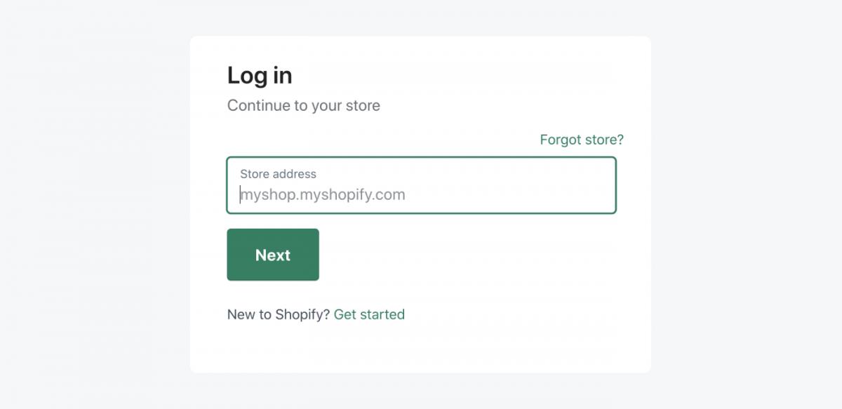Shopify login panel