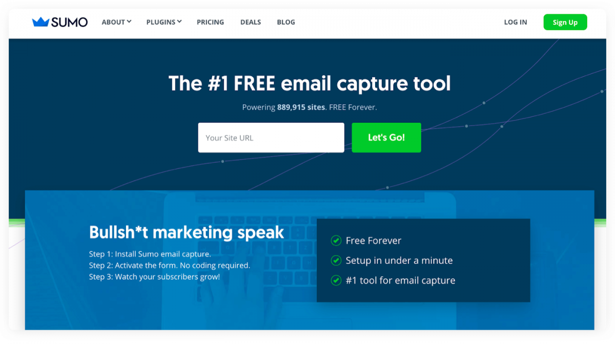 Homepage of Sumo Email Capture tool for Shopify