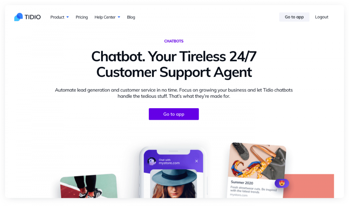 Tidio Chatbots product page