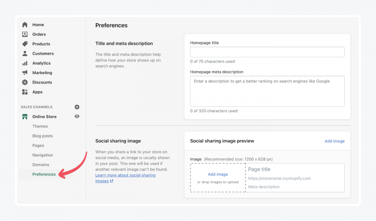 How to choose preferences in Shopify