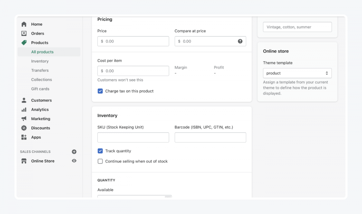 Shopify's panel: pricing tab