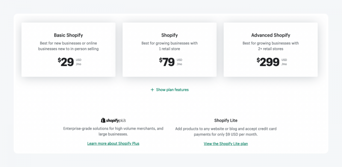 Shopify pricing main page