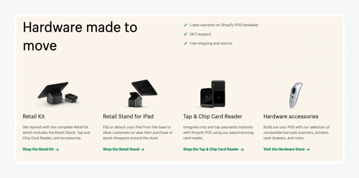 Shopify Retail Kit elements