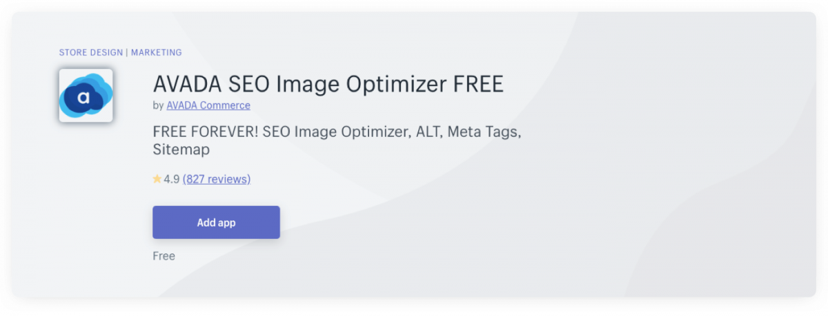 Avada SEO Image Optimizer Shopify plugin page