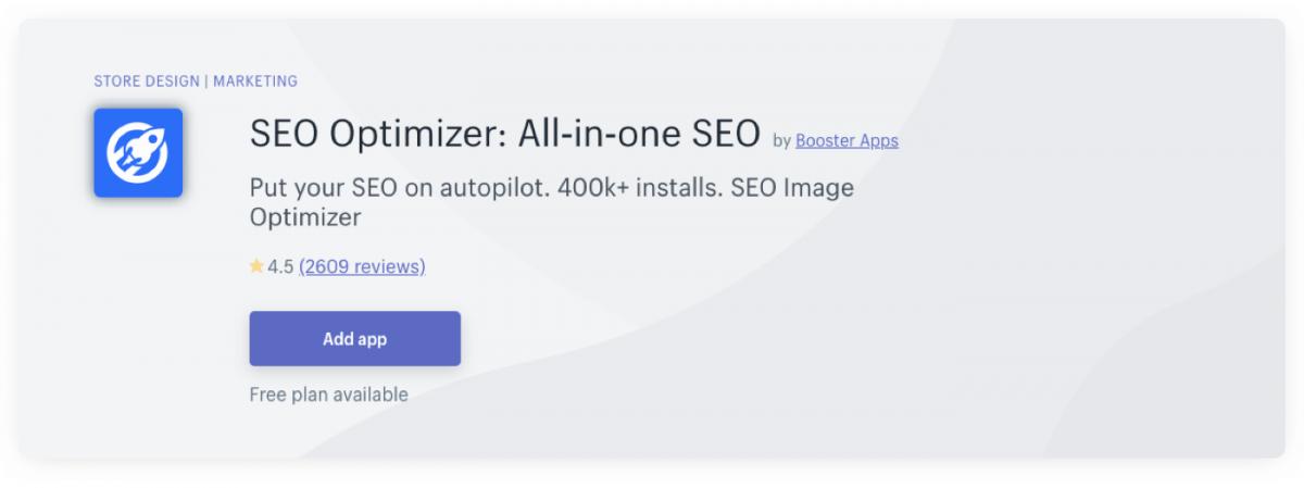 SEO Optimizer's Shopify plugin page