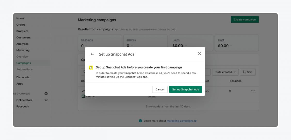 Shopify's panel: set up snapchat ads tab