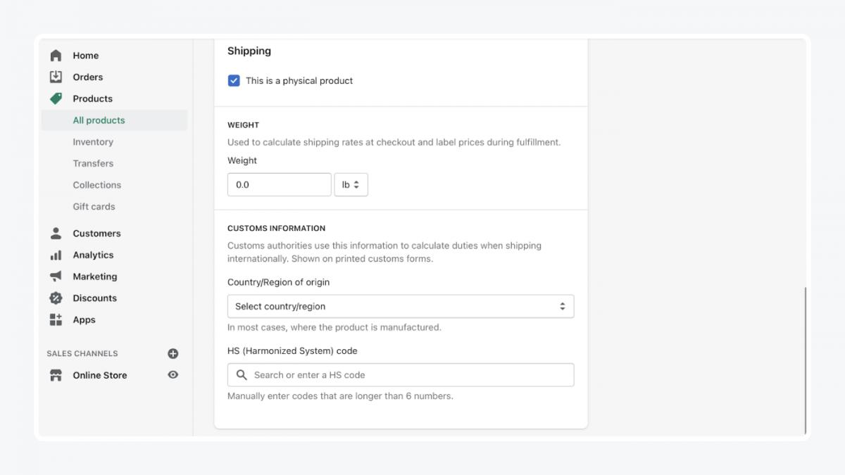 Shopify's panel: shipping tab