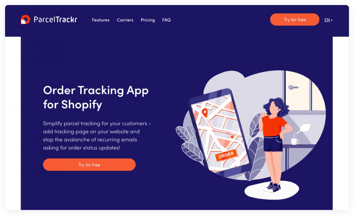 ParcelTrackr App for Shopify homepage