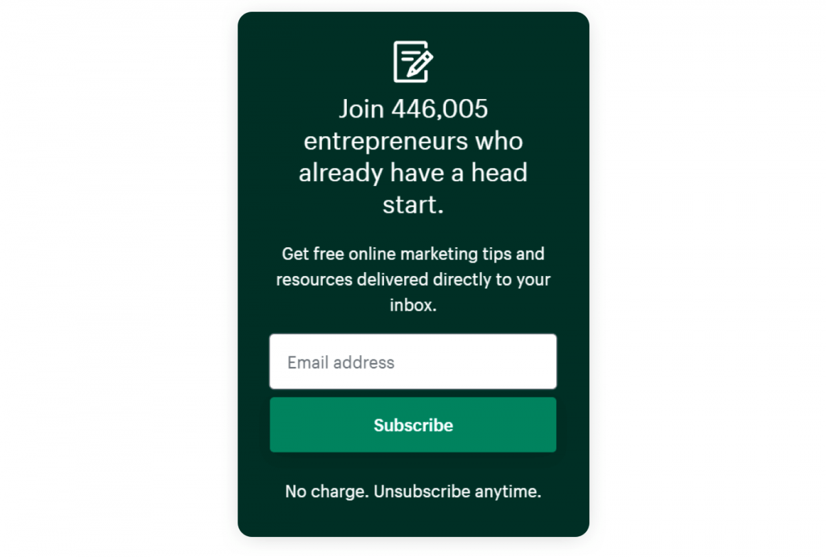 Shopify newsletter signup form example