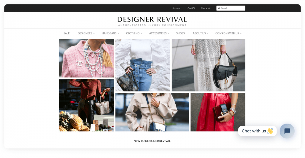 Designer Revival store homepage