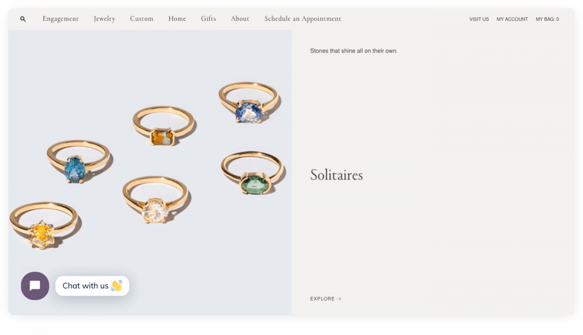 Mocium jewelry store powered by Shopify