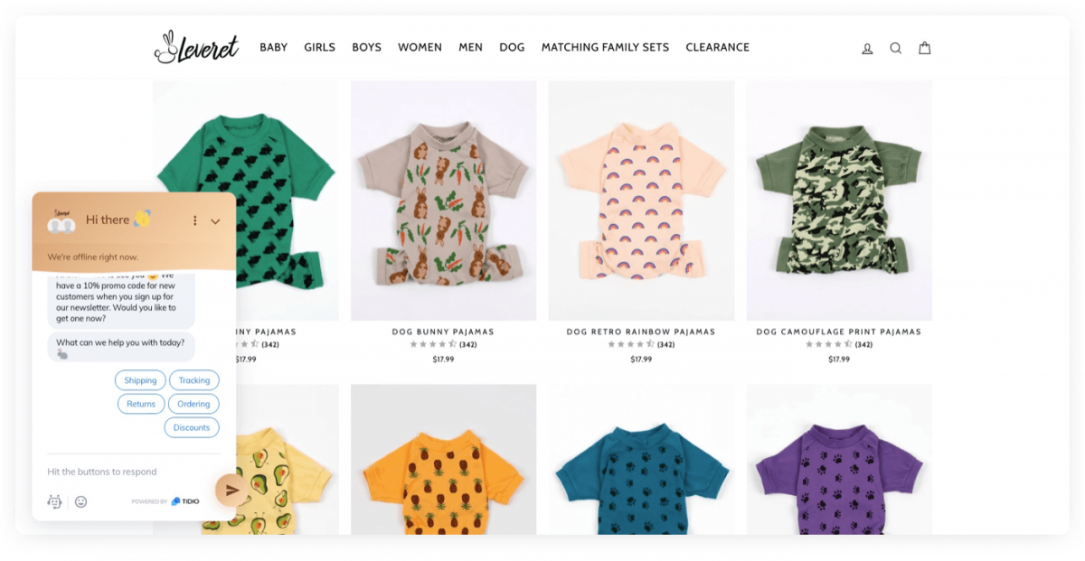 Leveret Shopify store homepage