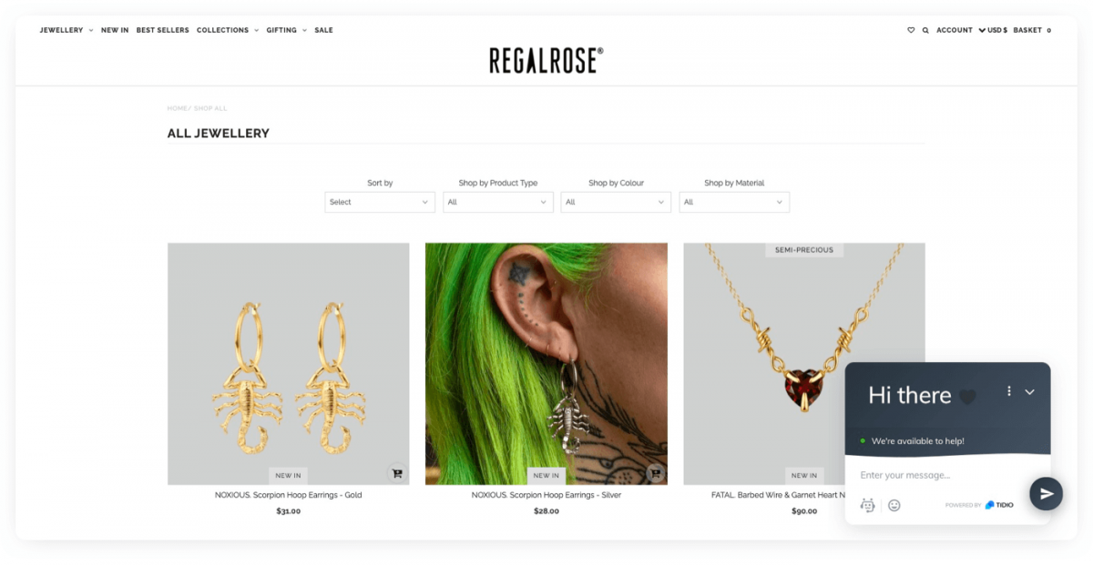 Regalrose Shopify store homepage