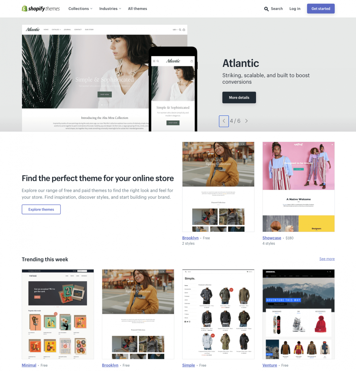 Shopify themes selection