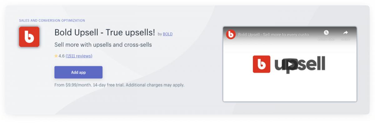 Bold Upsell Shopify plugin page