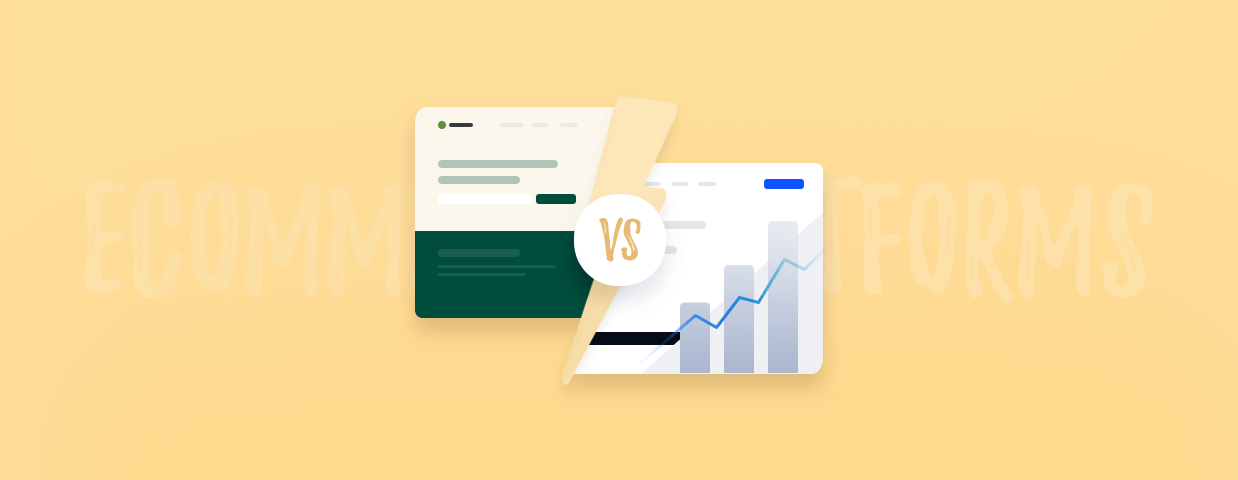 The cover image for the BigCommerce vs Shopify article - decorative