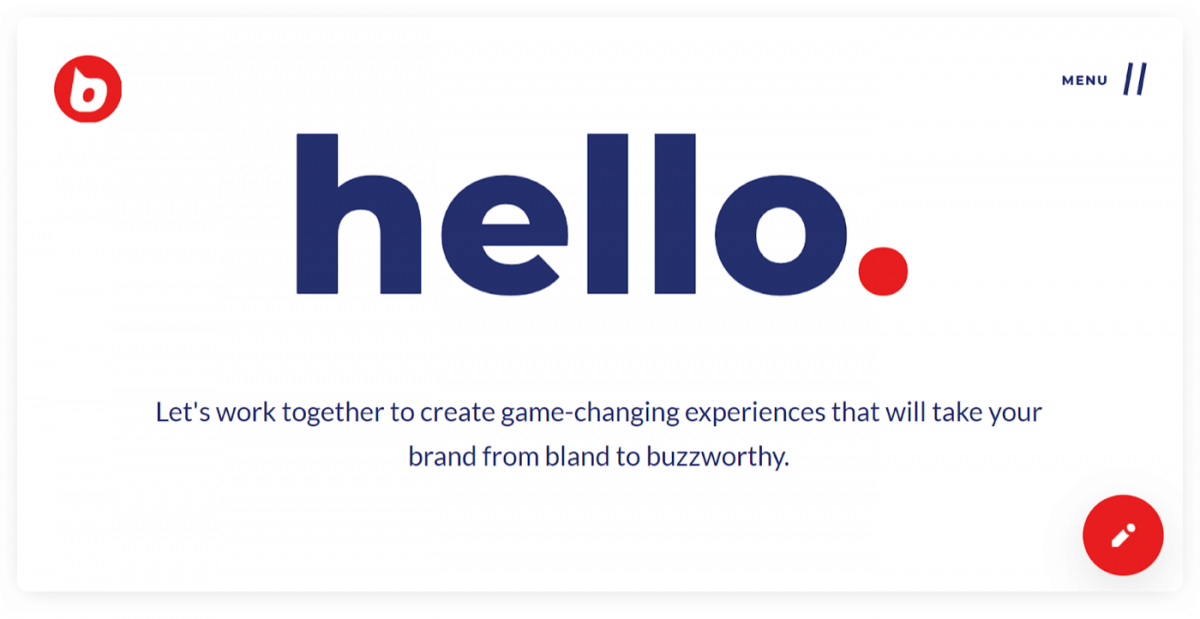 A creative website welcome message example from Buzzworthy