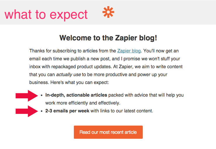 Zapier welcome message