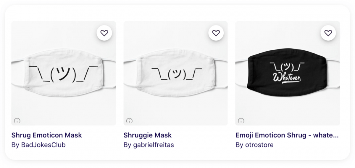 Three face masks with the shrug emoji