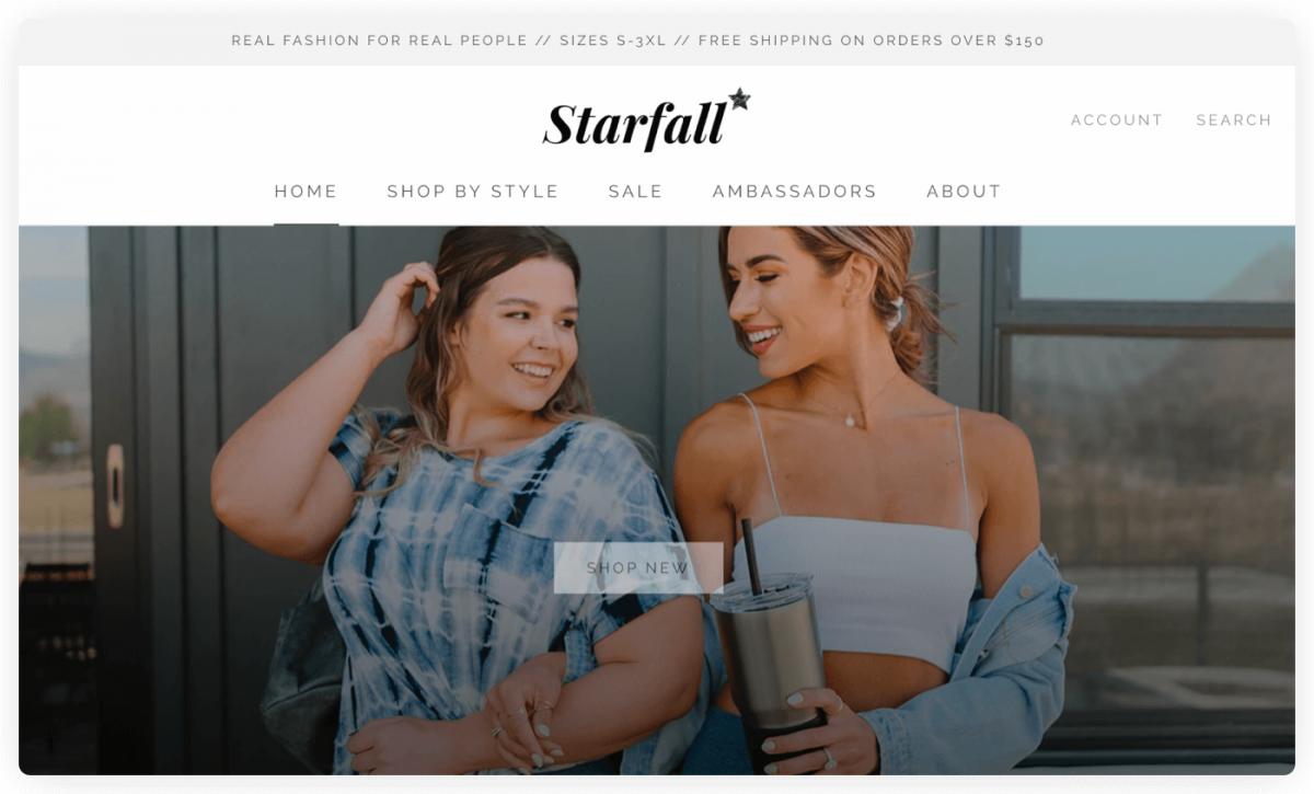 A screenshot of Starfall homepage
