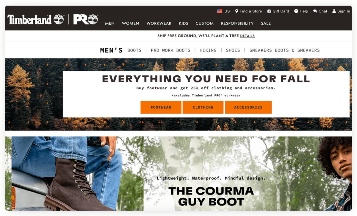 Timberland eCommerce homepage
