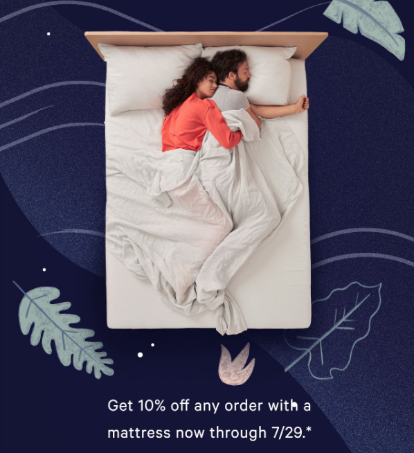 An email ad showing two people asleep on a bed