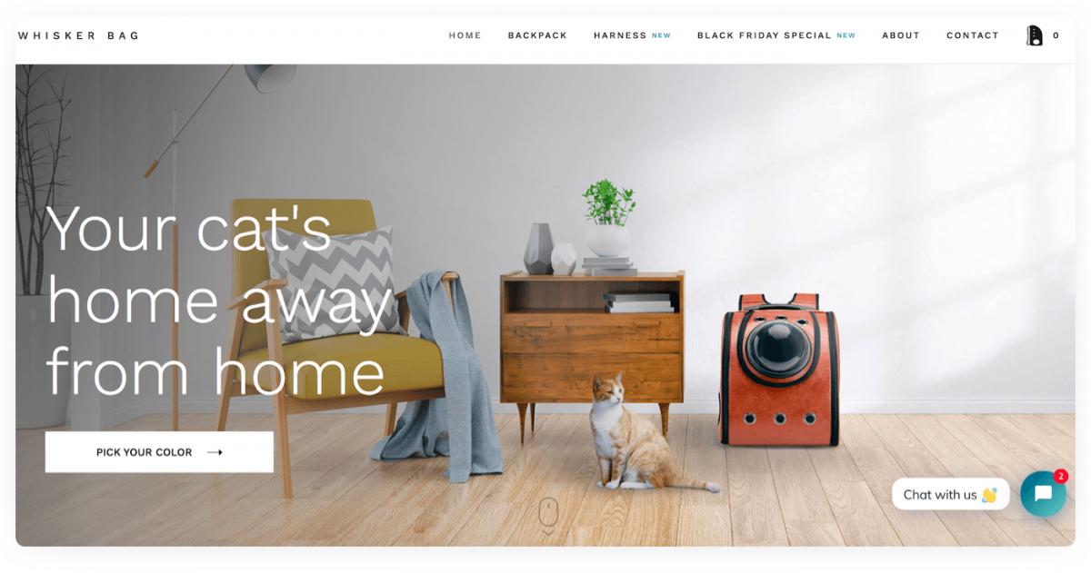 Online pet accessories store example