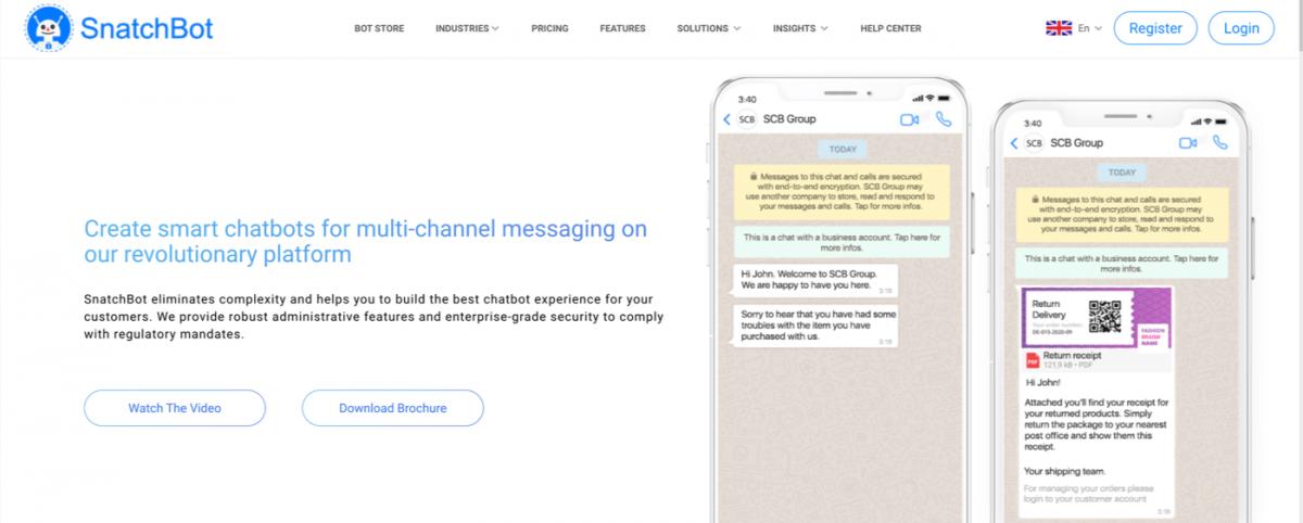 AI chatbot service - SnatchBot