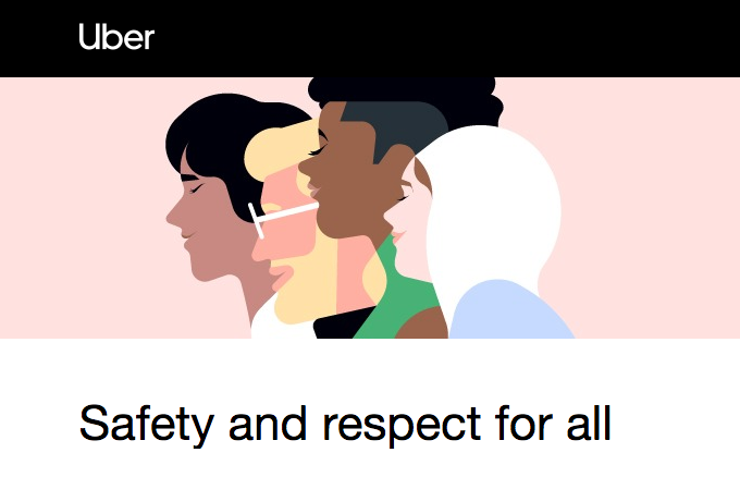 An Uber diversity ad showing profiles of people representing different cultures, races, and religion